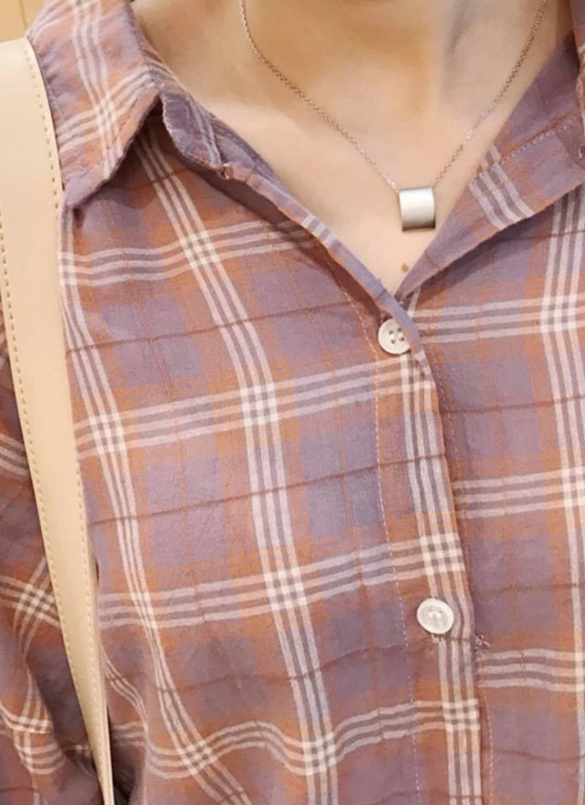 T1143 甜美粉紫格紋襯衫