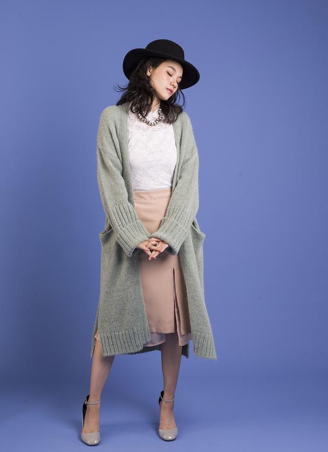 O0111 慵懶荷綠針織口袋外套