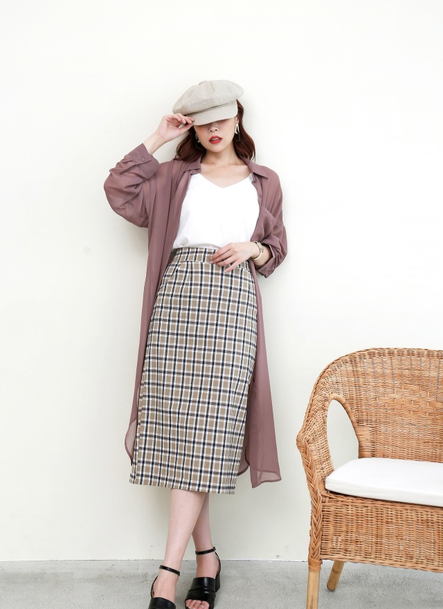 S0599 輕奶茶格紋中長裙