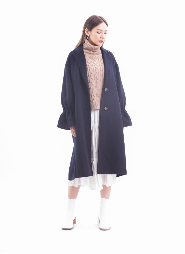 O0568唯美傘袖手工羊毛大衣(三色)