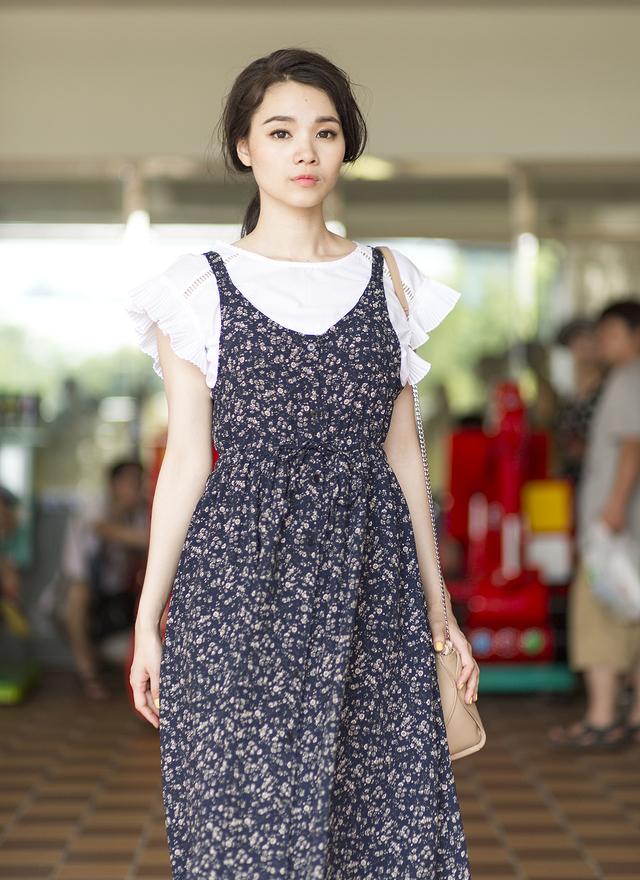 D0224 絕美花紋縮腰長洋裝