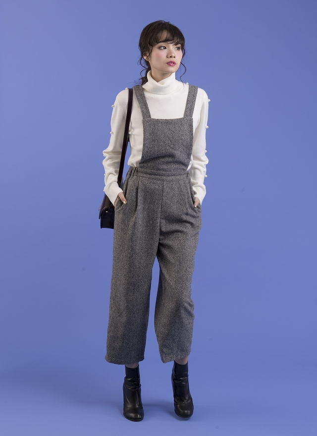 P0120 毛呢斜紋吊帶褲