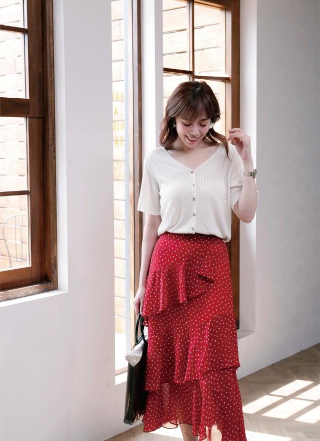 S0592 滿版印花層次長裙