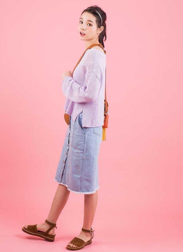 T0435 淺紫針勾上衣