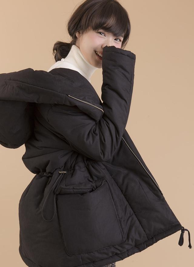 O0139 俏皮百搭抽繩鋪棉外套