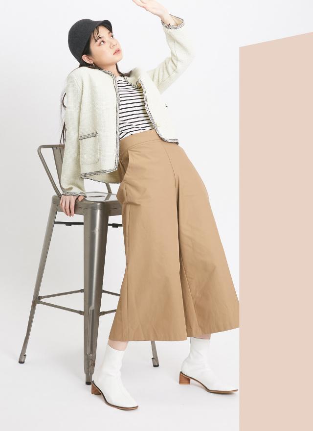 P0305低調珠釦挺版寬褲