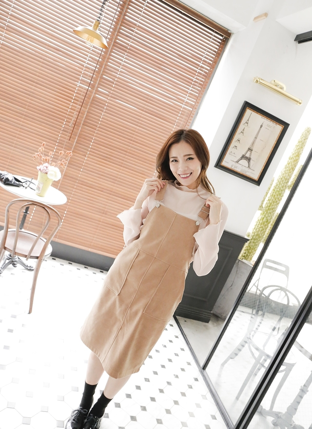 D0304 俏皮絨布刷毛吊帶洋裝