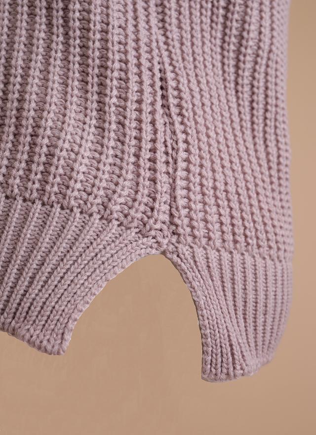 T0282 煙燻毛線拼接蕾絲上衣