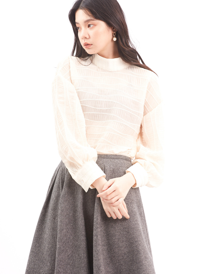 T1427花茶月季細紋上衣