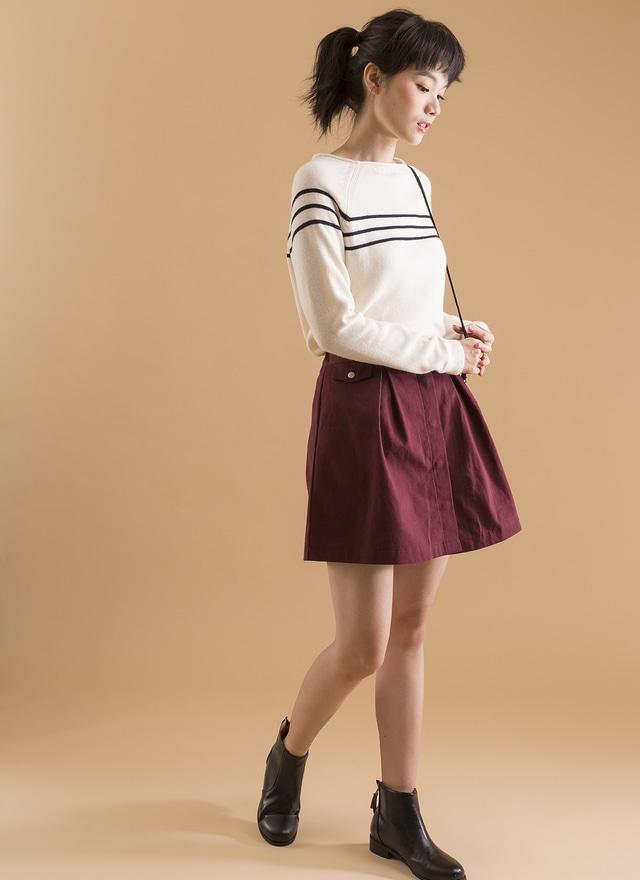 T0349 清新簡單橫條針織上衣