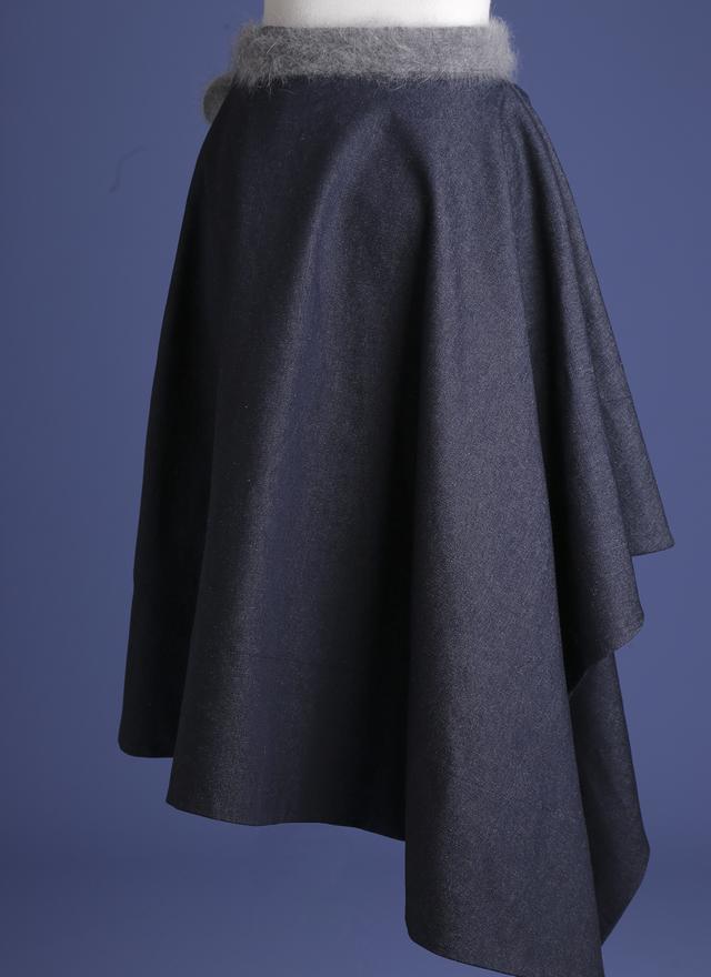 S0236 立體剪裁不規則牛仔裙