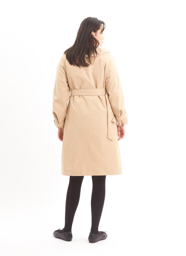 O0592奢華女伶絨領外套