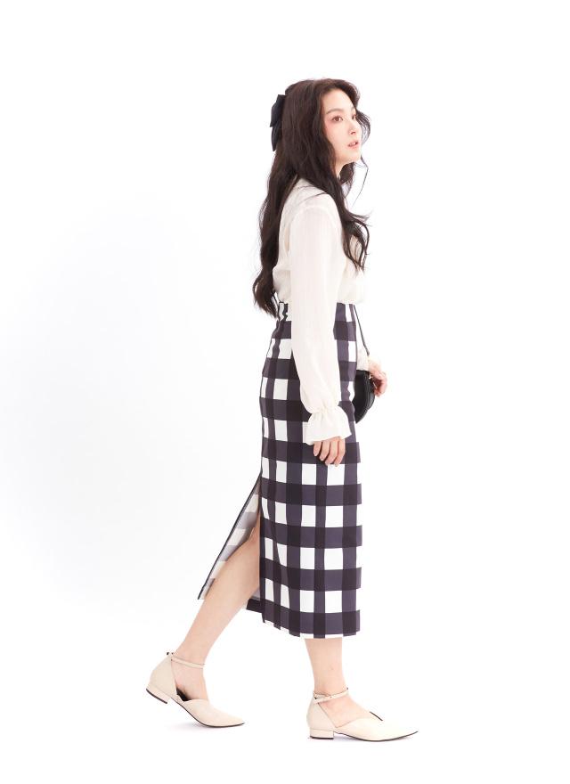 S0873媞拉方格長窄裙