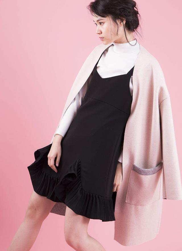 O0145 質感嫩粉羊毛外套