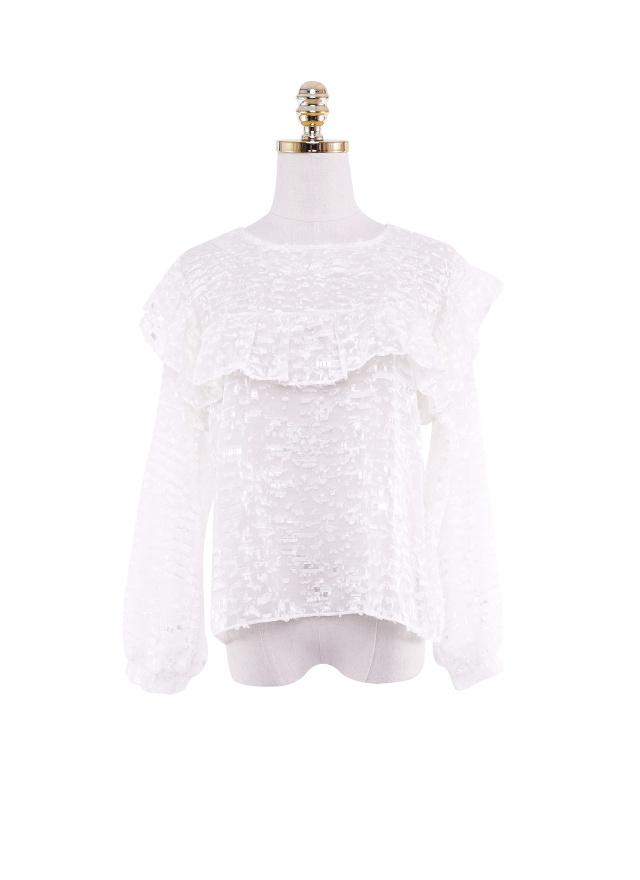 T1372輕甜花襬荷葉領上衣