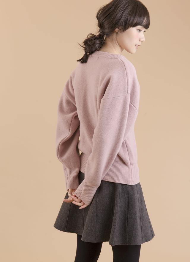 T0387 芭蕾綁帶薰紫毛衣