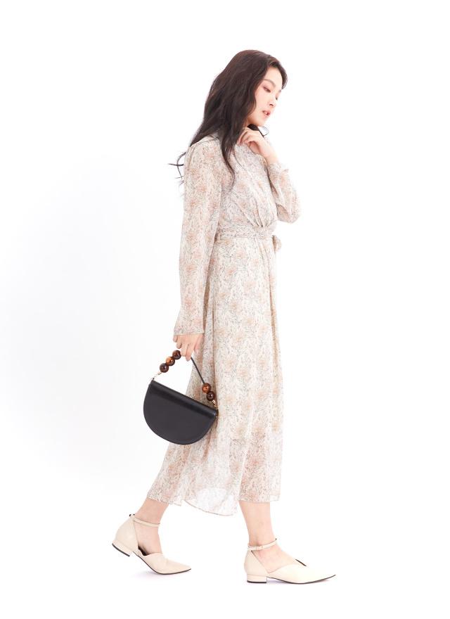 D1066薇玫V領綁帶洋裝