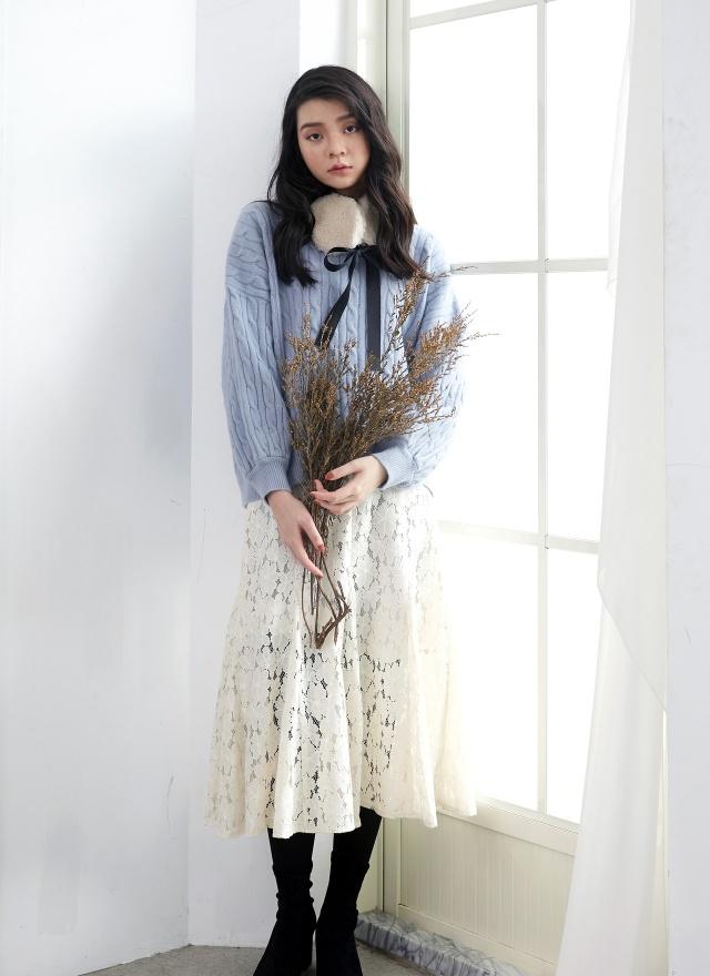 S0666飄然花朵蕾絲長裙(特惠)