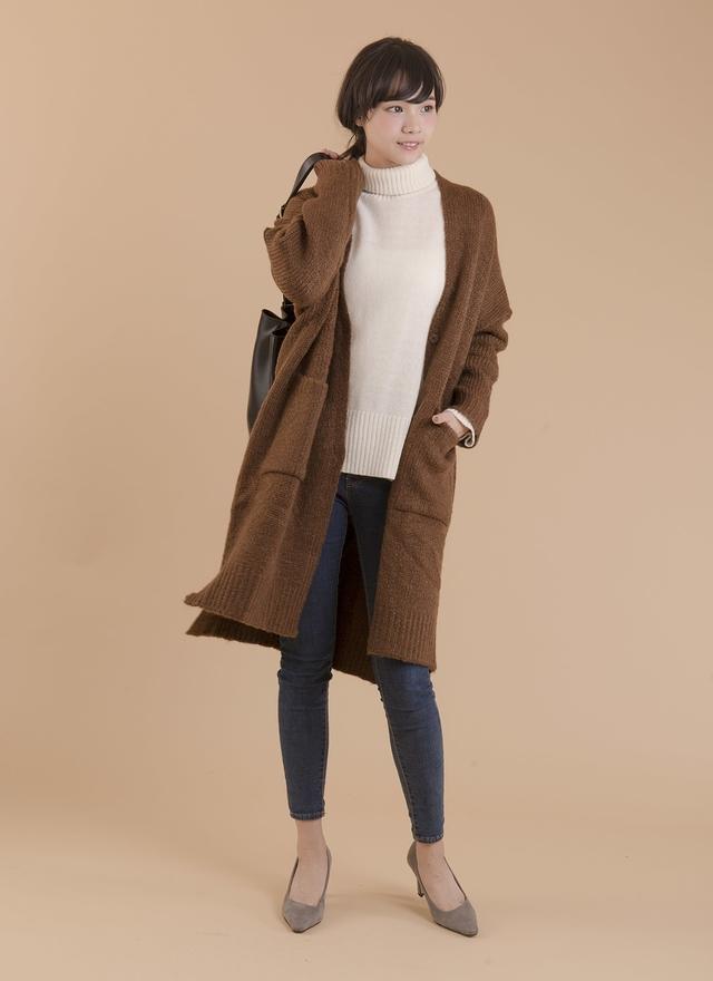 O0141 開襟修身長版針織外套