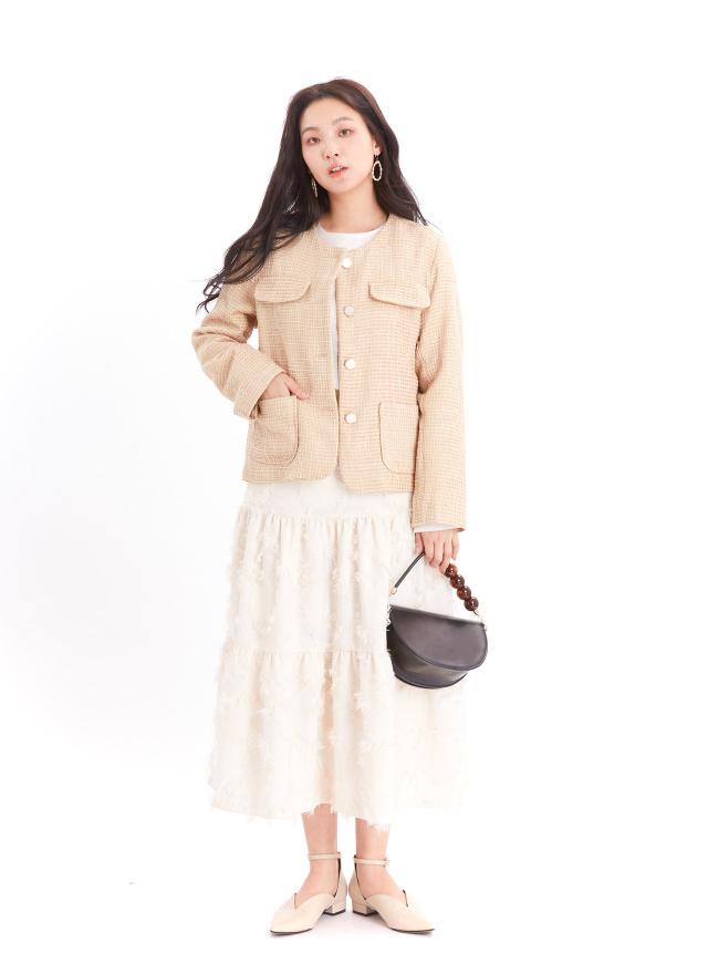 O0611甜鑲細織小香外套