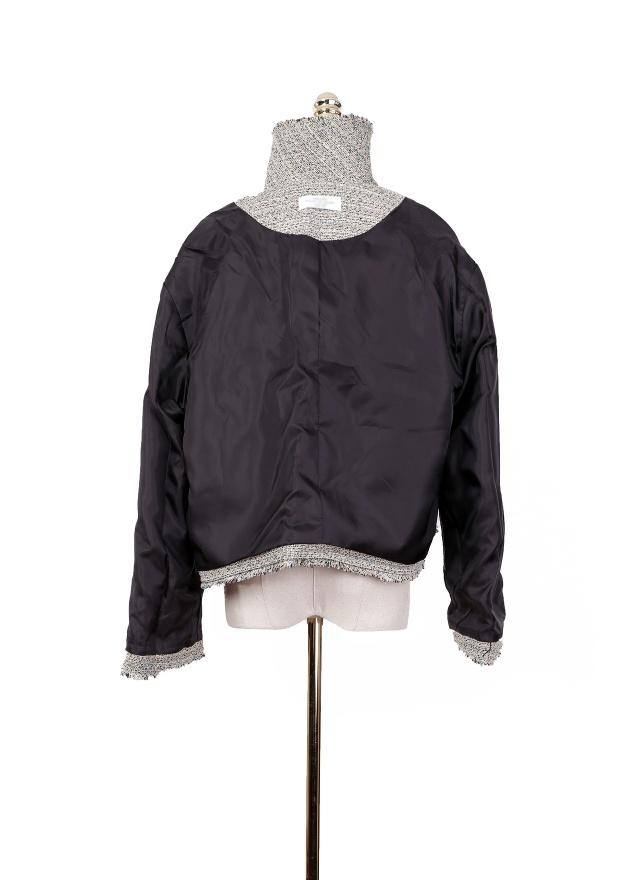 O0312 時尚混織落肩小香外套