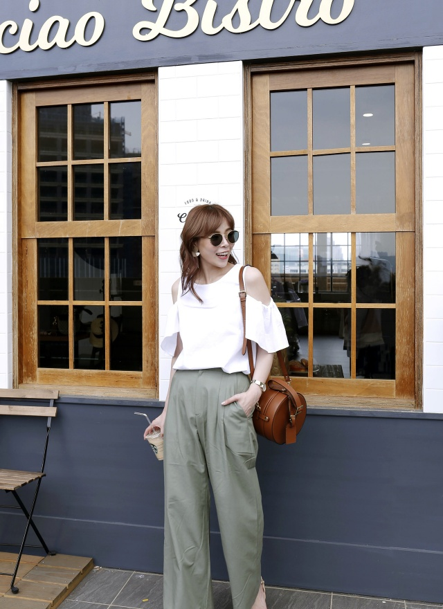 P0224 絕美折線純色西裝寬褲