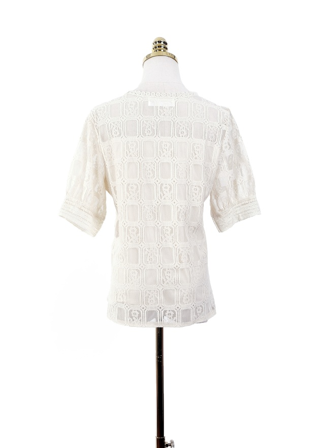T1002 雅緻方紋蕾絲上衣