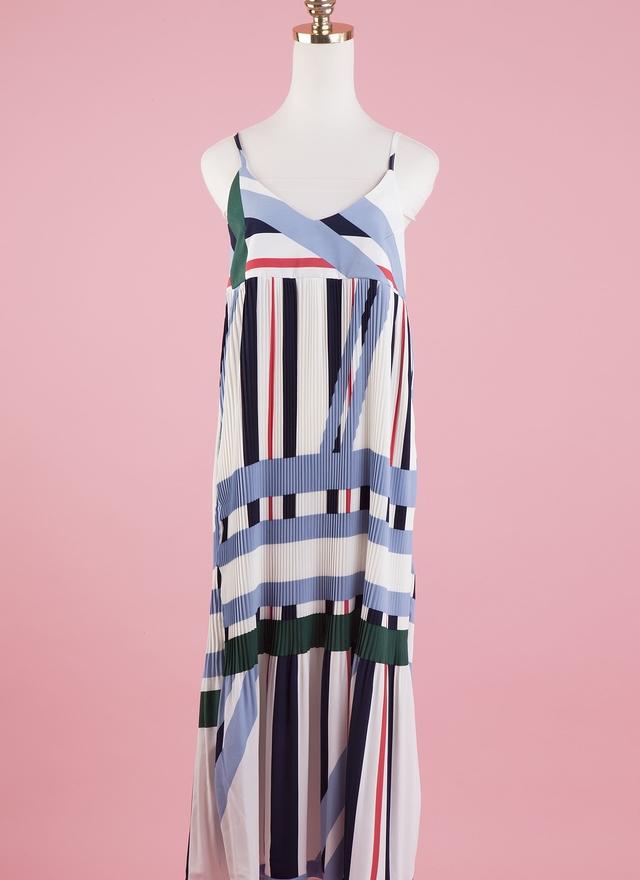 D0325 漾彩細緻多摺洋裝