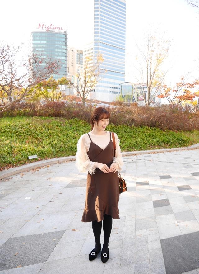 D0752典雅斜襬荷葉洋裝(特惠)