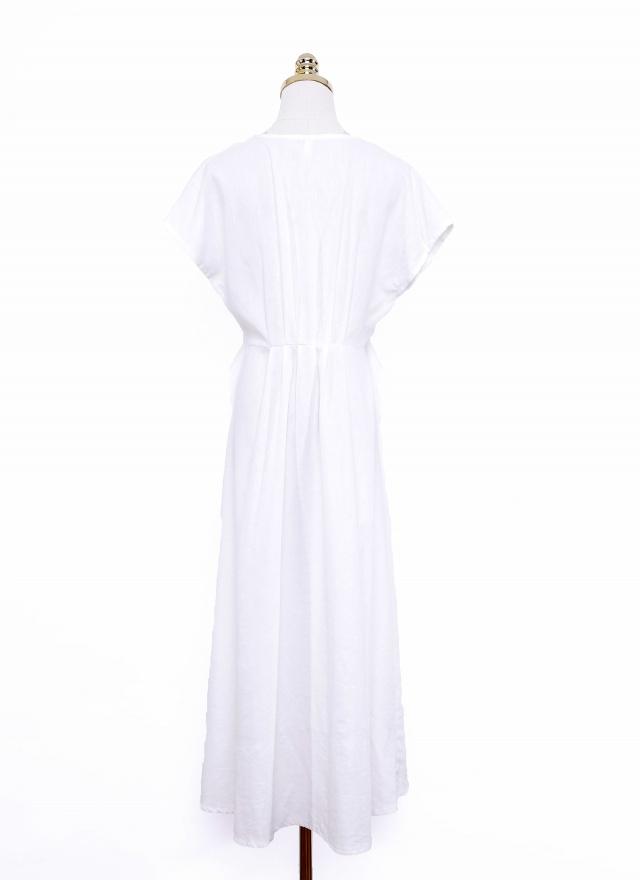 D0675 清爽麻白綁帶洋裝