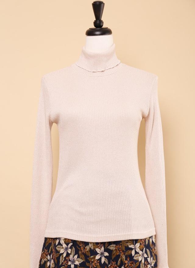 T0556 粉嫩螺紋高領上衣