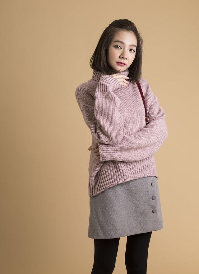 T0379 時尚嫩紫高領毛衣