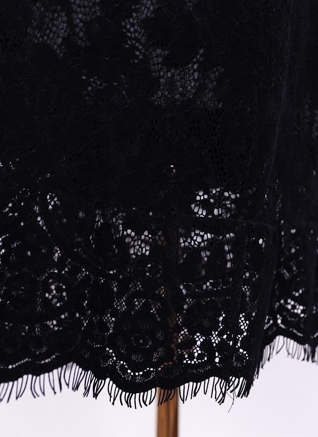 S0472 高雅醇黑蕾絲中長裙