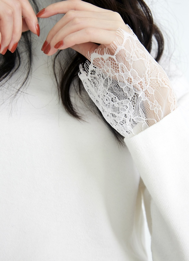 T1203蕾絲袖微領上衣