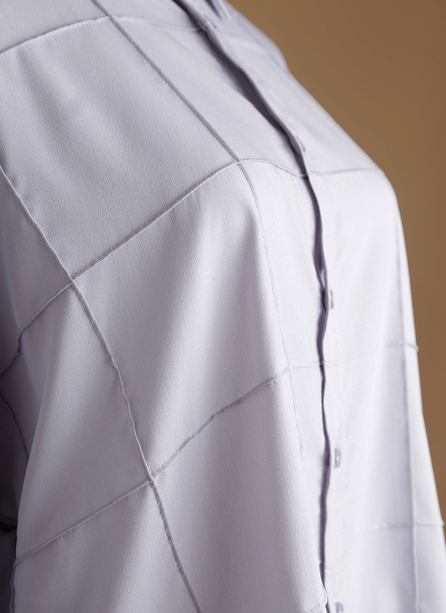 T0337 水藍立線雪紡襯衫