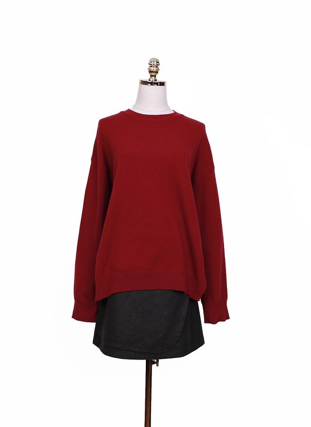 T0850 圓領酒紅羊毛毛衣