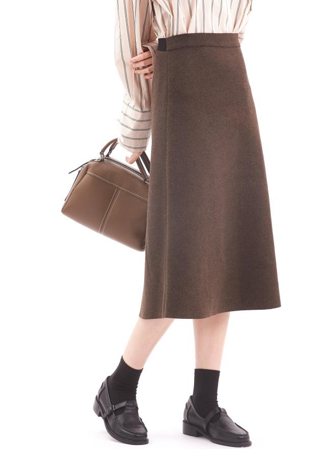 S0800極簡薄絨煙灰長裙(兩色)