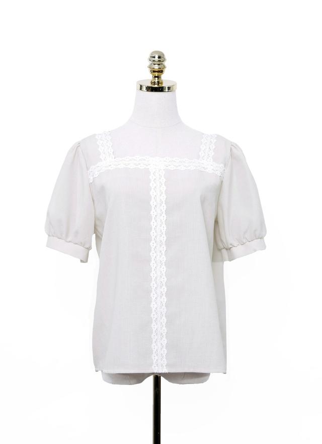 T1061 公主蕾絲方領上衣