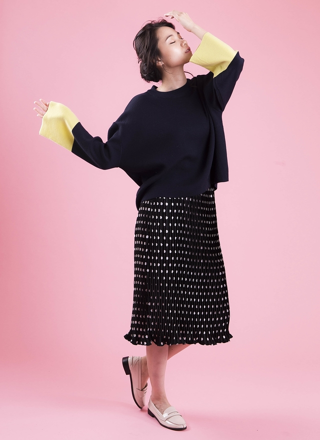 T0417 舒服寬袖配色針織衫