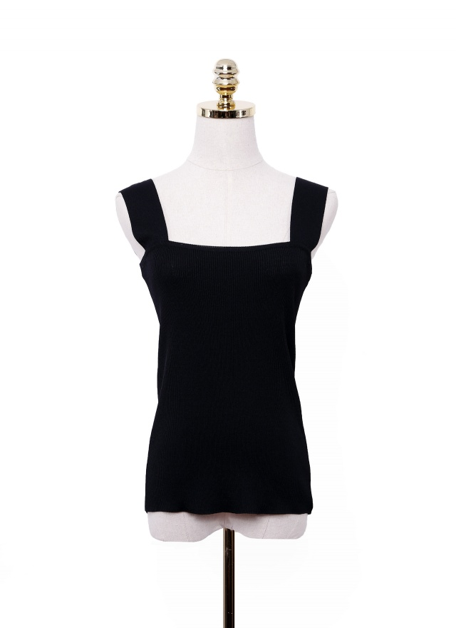 T1069 寬肩帶針織背心(兩色)