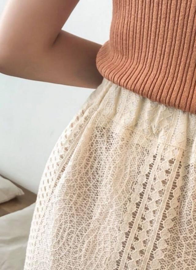 S0604 氣質圓心圓簍空魚尾裙 (特惠)