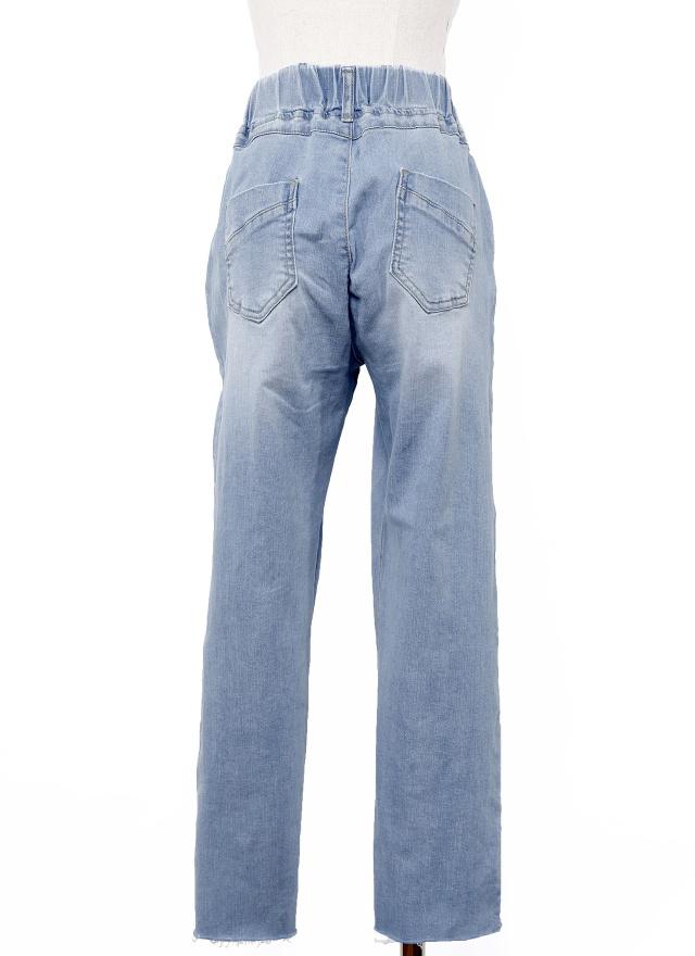 P0220 刷白破壞後鬆緊牛仔褲