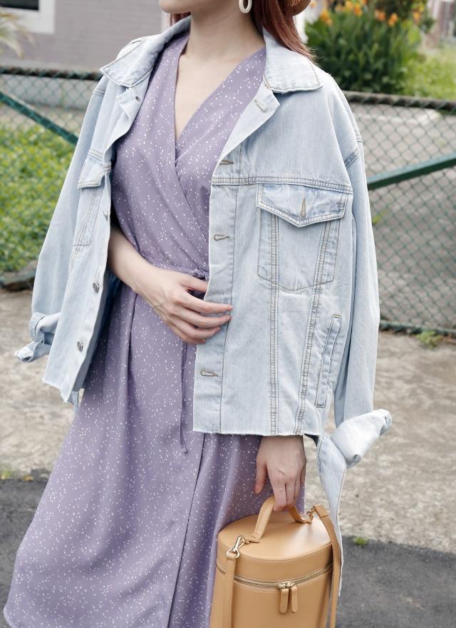 D0629 迷戀紫色V領洋裝