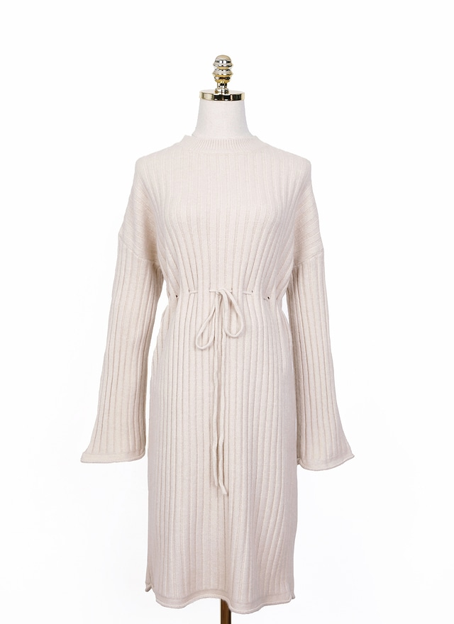 D0524 冬日針織綁帶洋裝