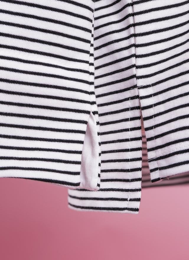 T0414 橫紋翻袖棉質上衣