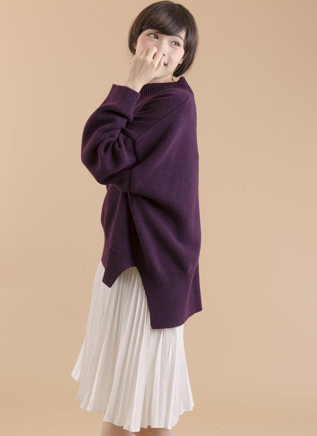 T0400 皇室漾紫寬袖毛衣