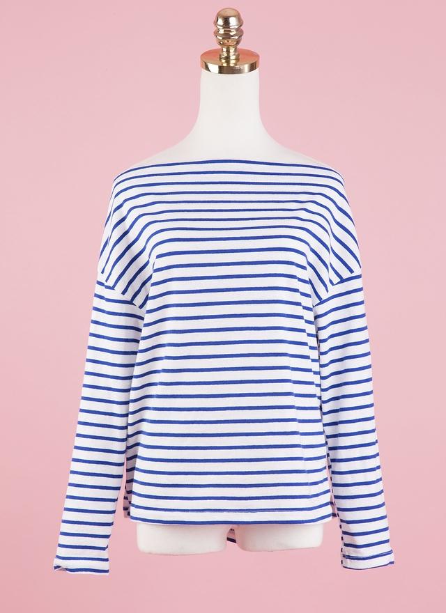 T0432 一字領條紋棉上衣