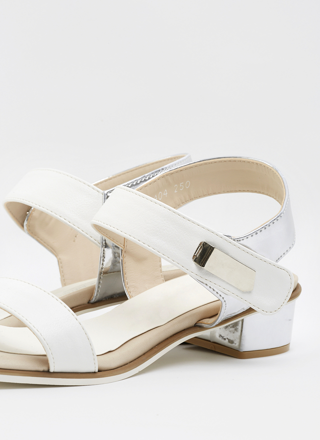 SH0032 滾邊橫條銀跟涼鞋