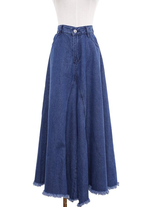 P0246 大方丹寧抽鬚寬褲裙(特惠)