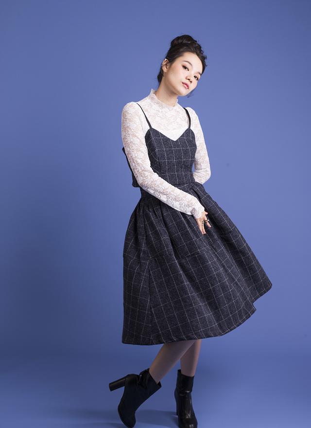 D0254 雪花格子細肩洋裝